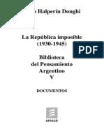 La República Imposible (1930-1945) Halperin Donghi