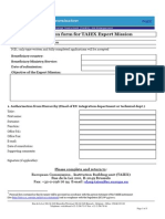 Application Form for TAIEX Expert Mission