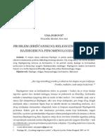 Problem (Hrišćanskog) Religioznog Iskustva- Hajdegerova Fenomenologija Religije