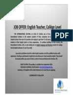 advert english teacher 2014