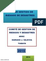 Plan de Gestión de Riesgos de Desastres 2015