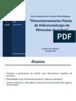 Dimesionamiento Planta de Hidrometalurgia