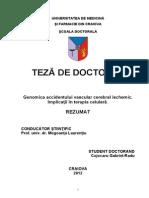 Genomica Accidentului Vascular Cerebral Ischemic_ Implicatii in Terapia Celulara