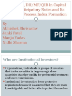 Role of FII's,DII/MF/QIB in Capital Market,participatory notes and its Impact and Process,Index Formation