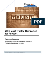 2012 Most Trusted Companies for Privacy_Report