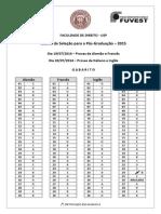gabarito_Prova Proficiencia Usp Direito_2014 Para 2015_gabarito