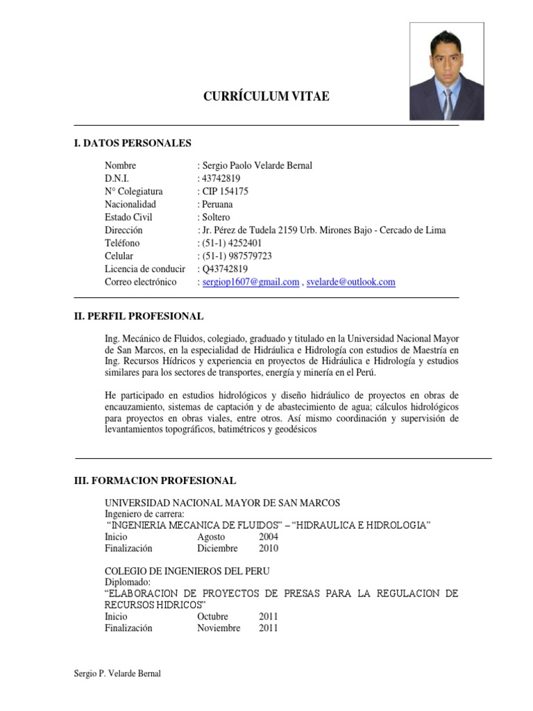 CV Sergio Velarde SD