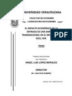 El impacto económico de la entrada de una empresa transnacional en el mercado de Xico, Ver.