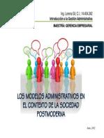 Los Modelos Administrativos en El Contexto de La Sociedad Postmoderna_lorena Gil