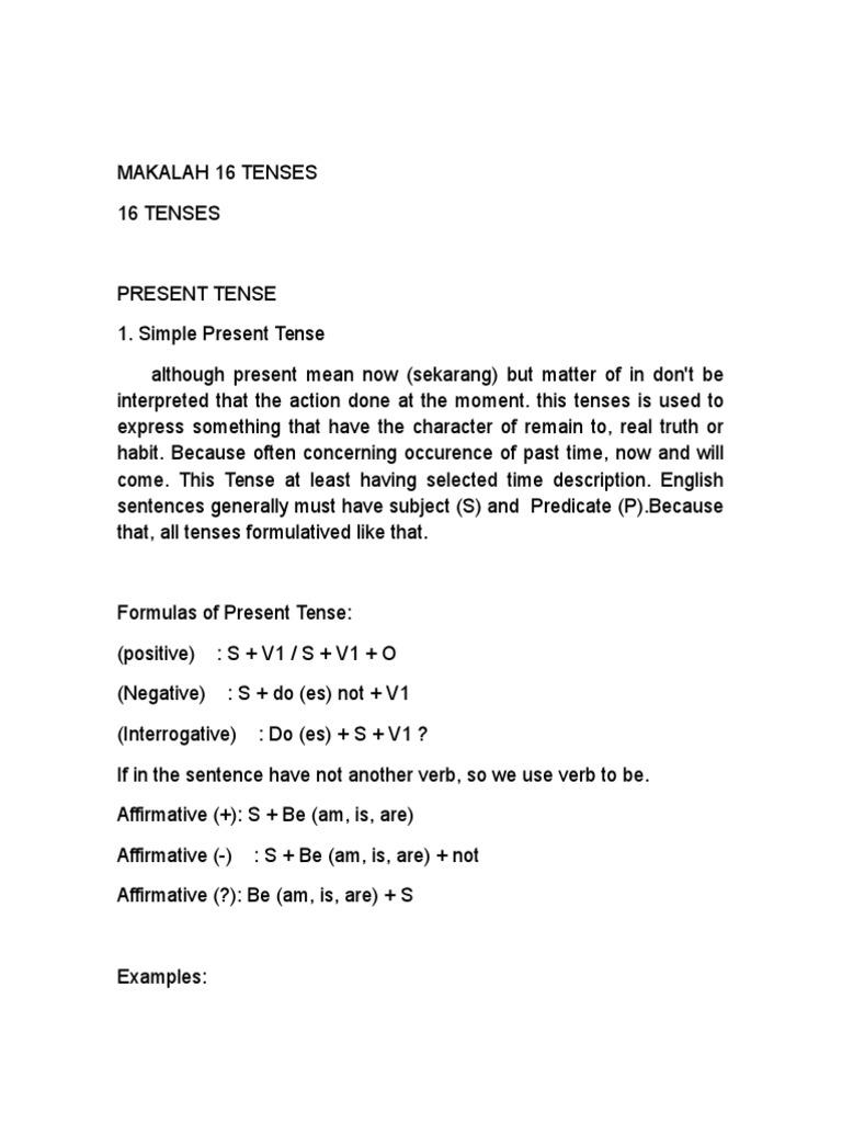 Makalah 16 Tenses Docx Grammatical Tense Perfect Grammar
