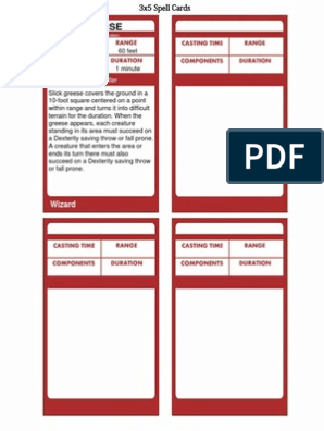 photo regarding Printable Monster Cards 5e named Spell Playing cards for DD 5E