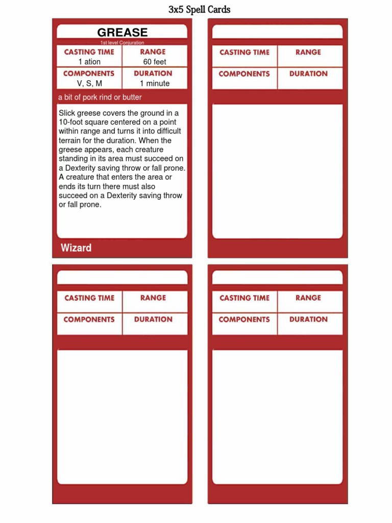 It is an image of Breathtaking D&d 5e Printable Spell Cards