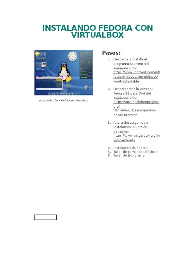 Instalando Fedora Con Virtualbox