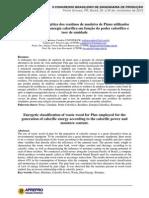 Classificação energética dos resíduos de madeira de Pinus utilizados para a geração de energia calorífica em função do poder calorífico e teor de umidade