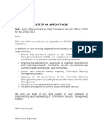 CISO Appointment Letter