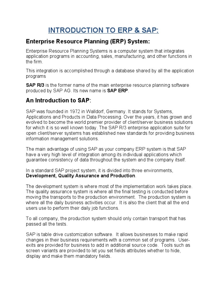 Introduction to Erp-sap | Enterprise Resource Planning