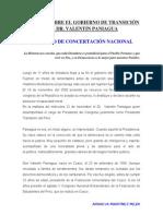 INFORME SOBRE EL GOBIERNO DE TRANSICIÓN DEL DR VALENTÍN PANIAGUA