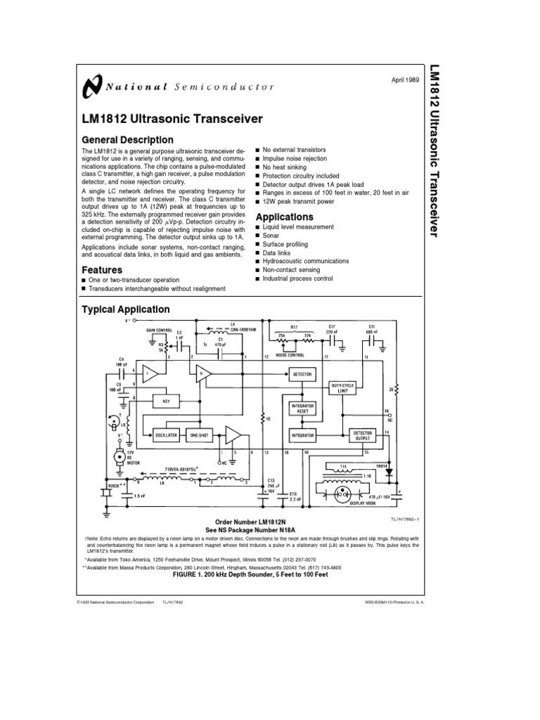 LM1812 Ultrasonic Transceiver: General Description