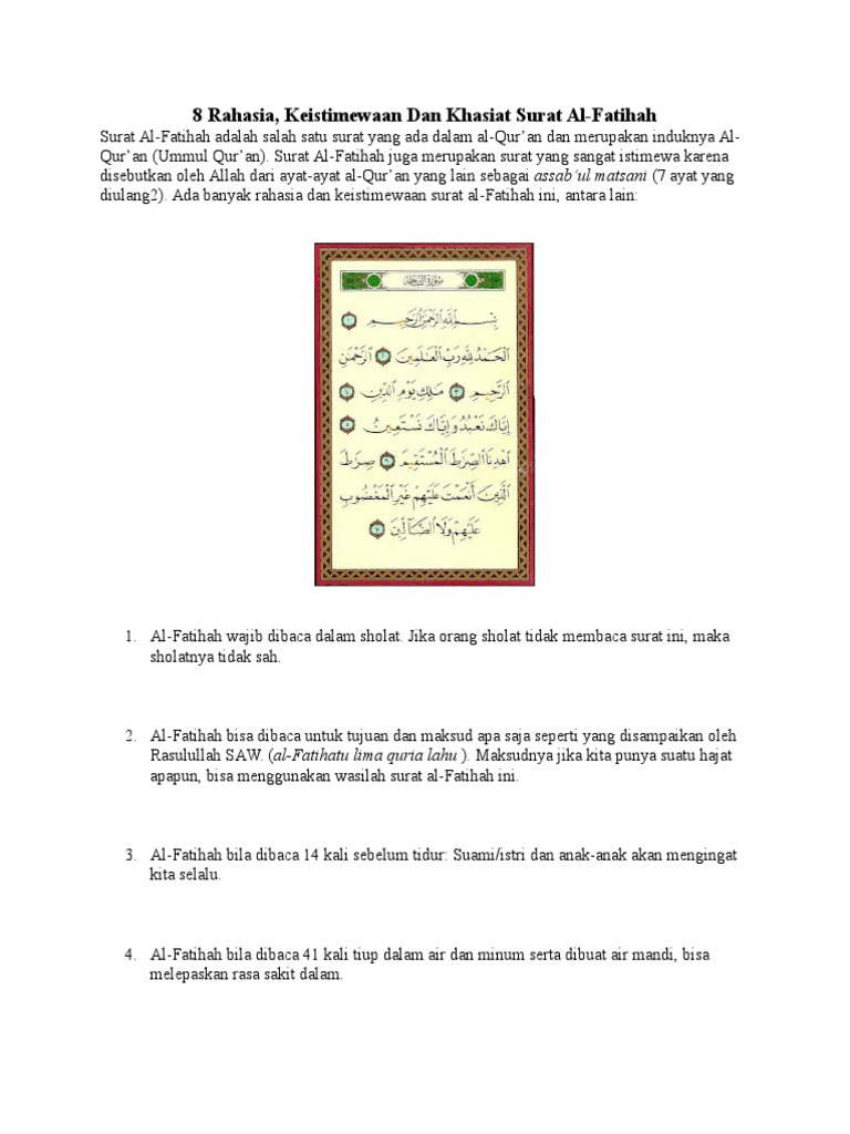 8 Rahasia Keistimewaan Dan Khasiat Surat Al Fatihah