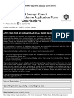 Blue Badge Scheme Application Form - Organisations - DeCEMBER 2011 UPDATED