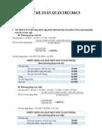 Bài tập kế toán QT Chương 8 + 9