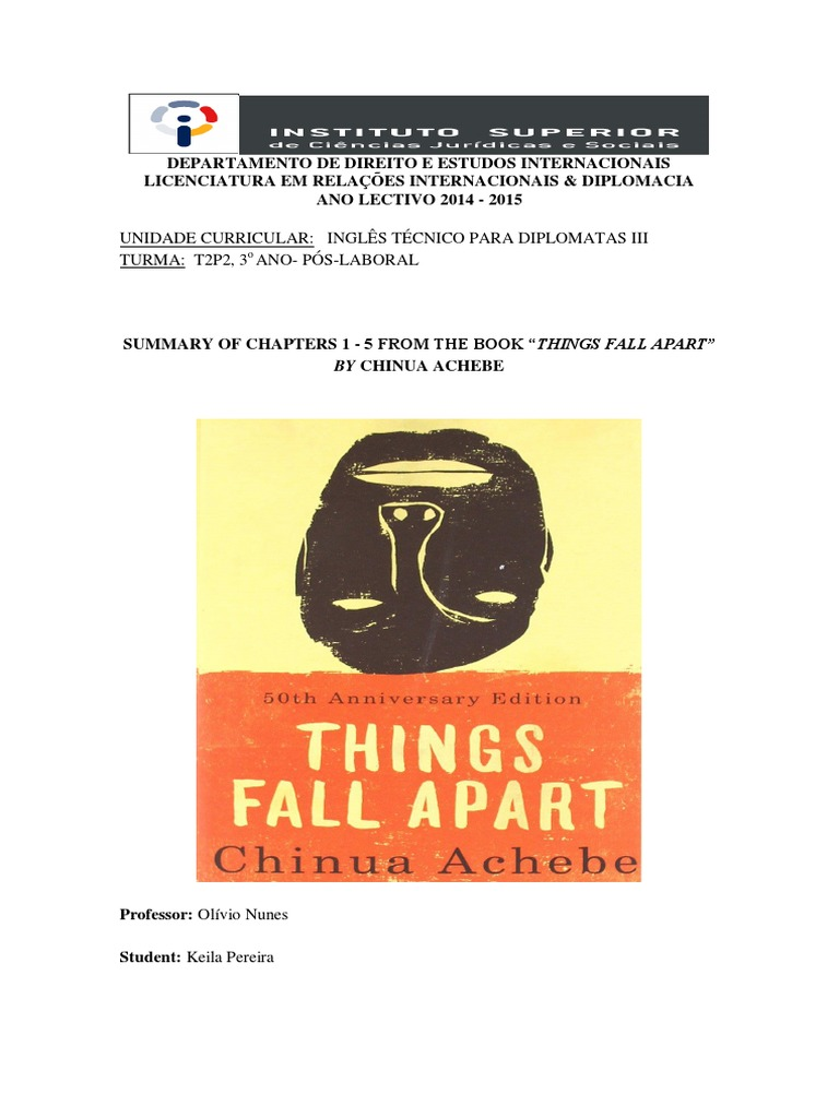 things fall apart chapter one 1 Chapter 1 to chapter 4 - let studymodecom get you up to speed on key information and facts on things fall apart by chinua achebe.