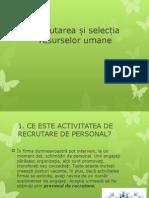 Recrutarea Și Selecția Resurselor Umane - MRU
