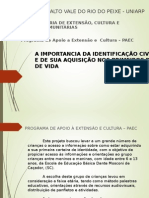 SEDEPEX -A IMPORTANCIA DA IDENTIFICAÇÃO CIVIL  E DE SUA AQUISIÇÃO NOS PRIMEIROS DIAS  DE VIDA Cópia