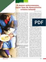 A mayor autoconsumo, mayor tasa de desnutrición crónica infantil