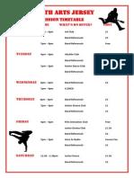YAJ Weekly Timetable 2015