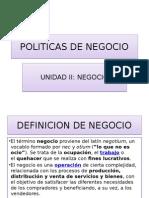 Politicas de Negocio, Unidad II