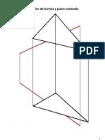 Geometria descriptiva. Ejercicio de intersección de un plano con una recta