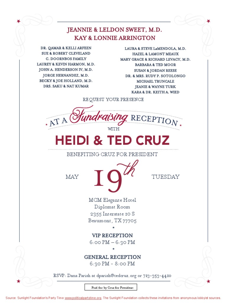 Fundraising Reception for Ted Cruz for President | Credit Card ...
