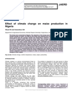Effect of climate change on maize production in Nigeria