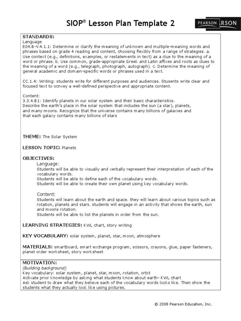 Workbooks solar system worksheets pdf : siop lesson plan | Planets | Vocabulary