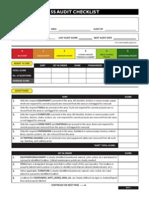 5S Audit Checklist pdf | Aisle | Personal Protective Equipment