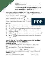 Ecuaciones diferenciales de primer orden solucion directa