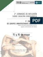 Programa de las II Jornadas de reflexión sobre creación coreográfica y I Encuentro de grupos universitarios de danza