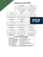 Year 2015 Calendar – Brazil