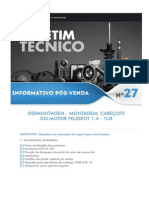BOLETIM TÉCNICO PEUGEOT Nº 27 - Desmontagem - Montagem - Cabeçote Motor 1.4 - TU3