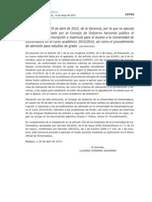 Calendario Uex.Calendario De Admision Y Matricula En La Uex Para El Curso 2015 2016