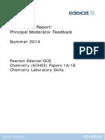 Examiner Reports Unit 3 (6CH03) June 2014
