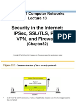 Computer Networks 13 Security in the Internet IPSec SSLTLS PGP VPN and Firewalls