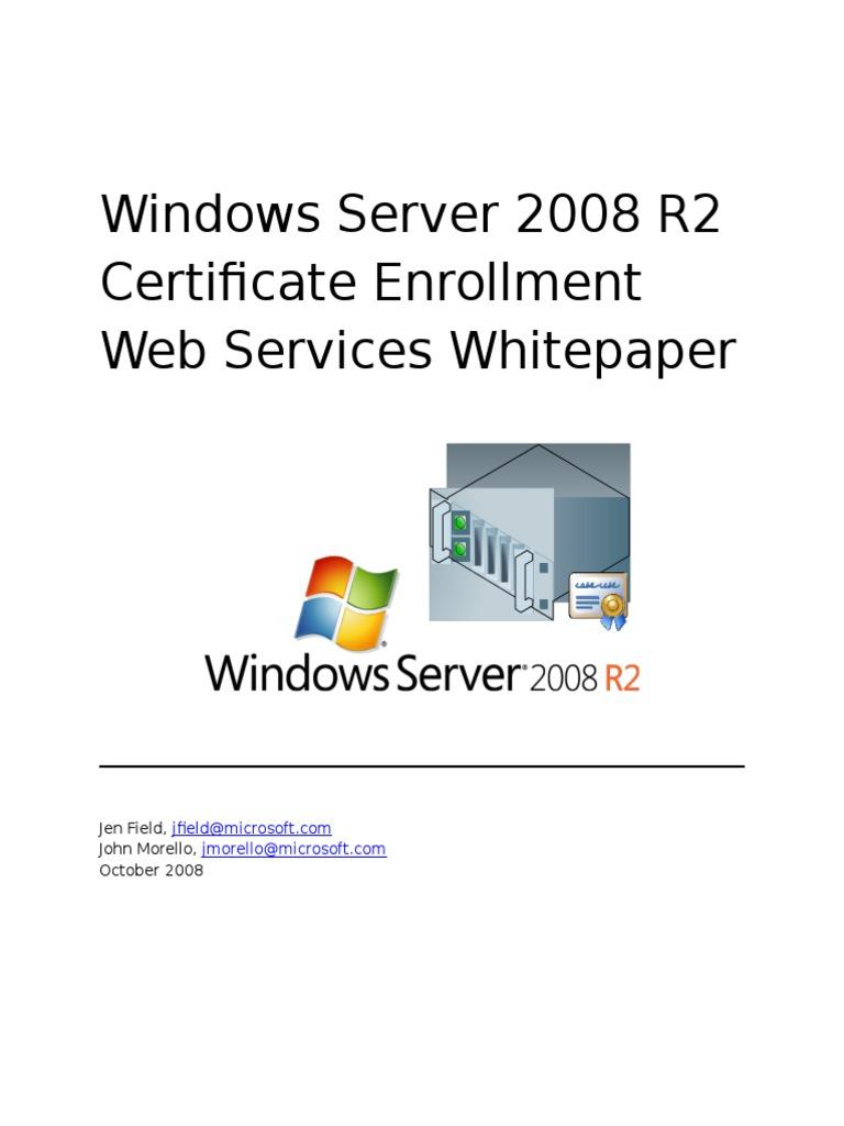 Windows Server 2008 R2 Certificate Enrollment Web Services