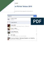 Cara Buat Iklan FB Ads Terbaru 2015