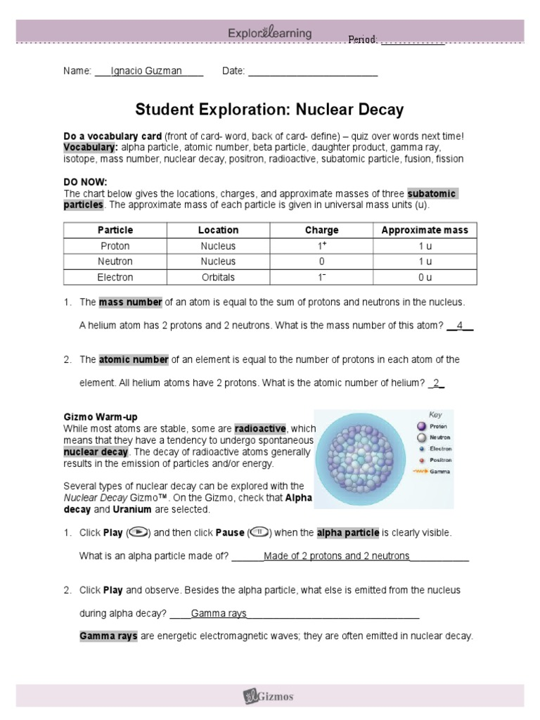 Nucleardecay Explorelearninig  PDF  Radioactive Decay  Atoms Throughout Nuclear Chemistry Worksheet Answer Key