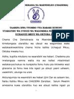 Press Statement Mei 14 Kutoka Chadema