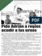 14-05-15 Pide Adrián a regios acudir a las urnas