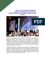 Intel ISEF 2015  127 jóvenes estudiantes representarán a Latinoamérica en la más esperada feria de Ciencias e Ingeniería del mundo