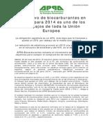 NP APPA Biocarburantes Objetivos Biocarburantes Espana UE 2014 Mayo 2014